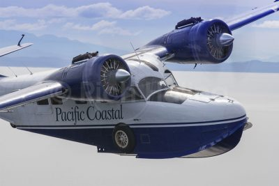 Built in 1940, Pacific Coastal's Grumman Goose C-FUAZ pulls in close for my camera for this shot east of Port Hardy, B.C.