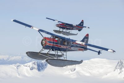 Ward Air's Beaver N62353 and Turbo Otter N93356 fly over the spectacular Juneau Icefields.